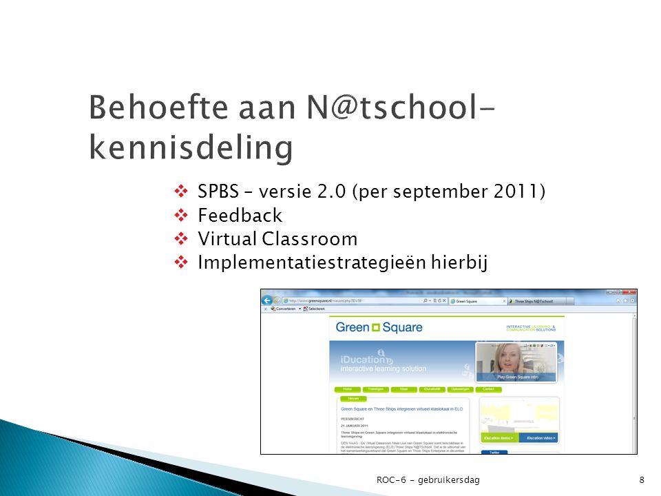  SPBS – versie 2.0 (per september 2011)  Feedback  Virtual Classroom  Implementatiestrategieën hierbij ROC-6 - gebruikersdag8