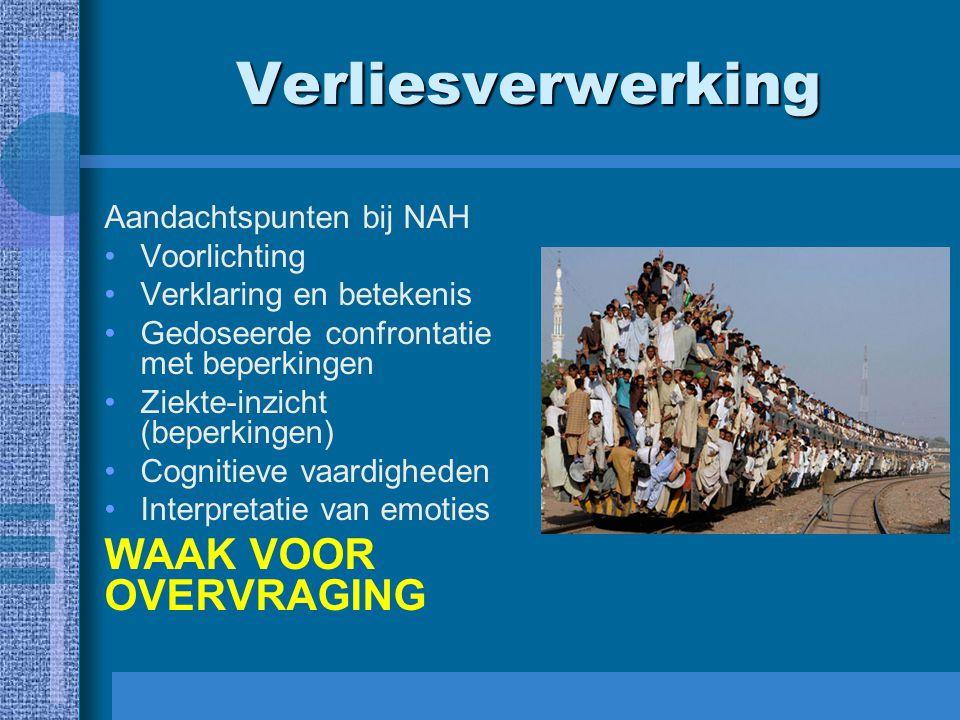 Verliesverwerking Aandachtspunten bij NAH Voorlichting Verklaring en betekenis Gedoseerde confrontatie met beperkingen Ziekte-inzicht (beperkingen) Co