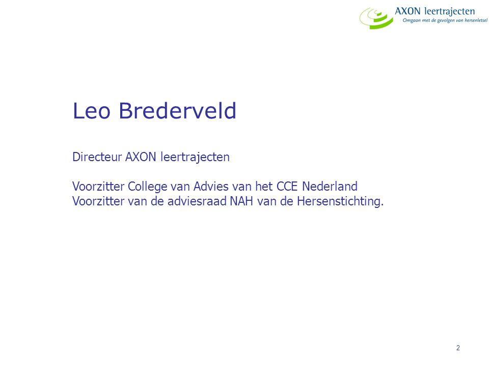 2 Leo Brederveld Directeur AXON leertrajecten Voorzitter College van Advies van het CCE Nederland Voorzitter van de adviesraad NAH van de Hersensticht