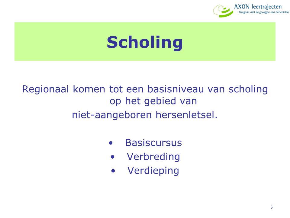 6 Scholing Regionaal komen tot een basisniveau van scholing op het gebied van niet-aangeboren hersenletsel. Basiscursus Verbreding Verdieping