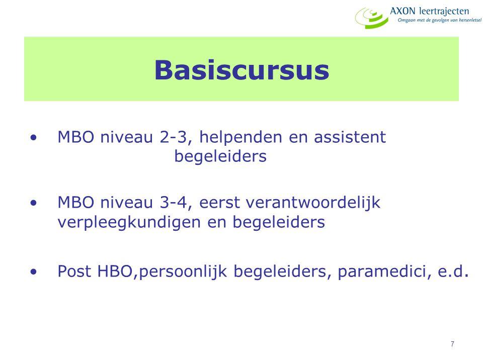 7 Basiscursus MBO niveau 2-3, helpenden en assistent begeleiders MBO niveau 3-4, eerst verantwoordelijk verpleegkundigen en begeleiders Post HBO,perso