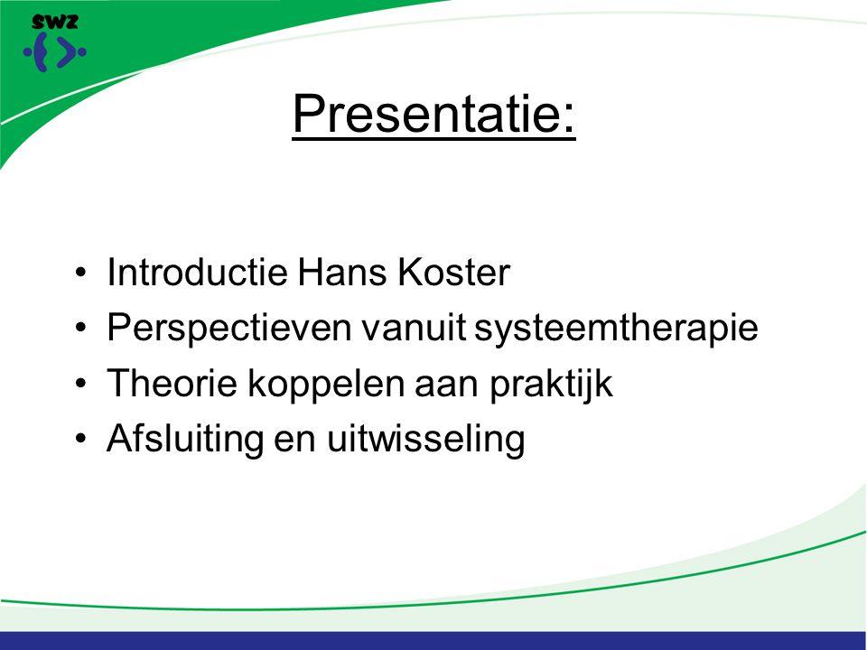 Presentatie: Introductie Hans Koster Perspectieven vanuit systeemtherapie Theorie koppelen aan praktijk Afsluiting en uitwisseling