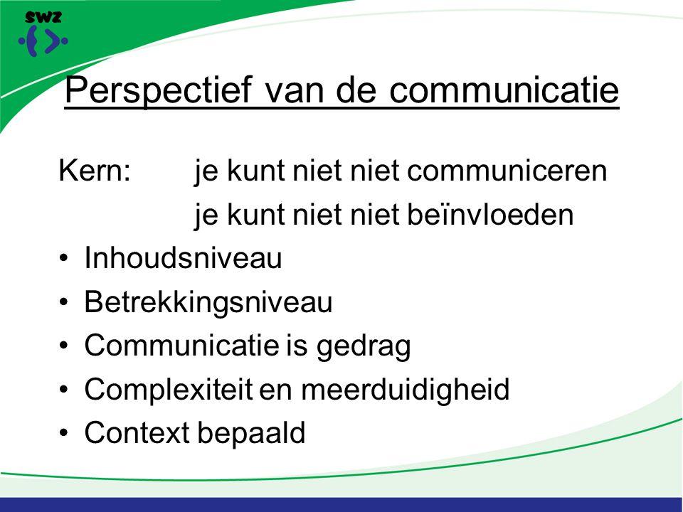 Perspectief van de communicatie Kern:je kunt niet niet communiceren je kunt niet niet beïnvloeden Inhoudsniveau Betrekkingsniveau Communicatie is gedrag Complexiteit en meerduidigheid Context bepaald