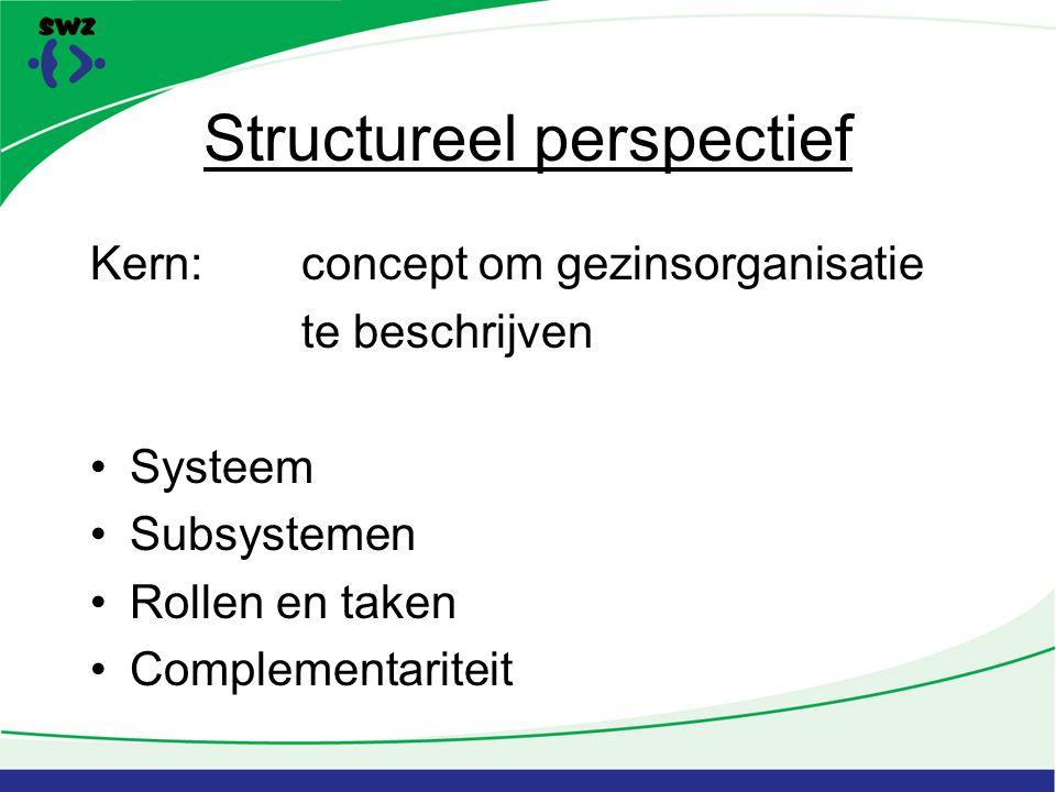 Structureel perspectief Kern:concept om gezinsorganisatie te beschrijven Systeem Subsystemen Rollen en taken Complementariteit
