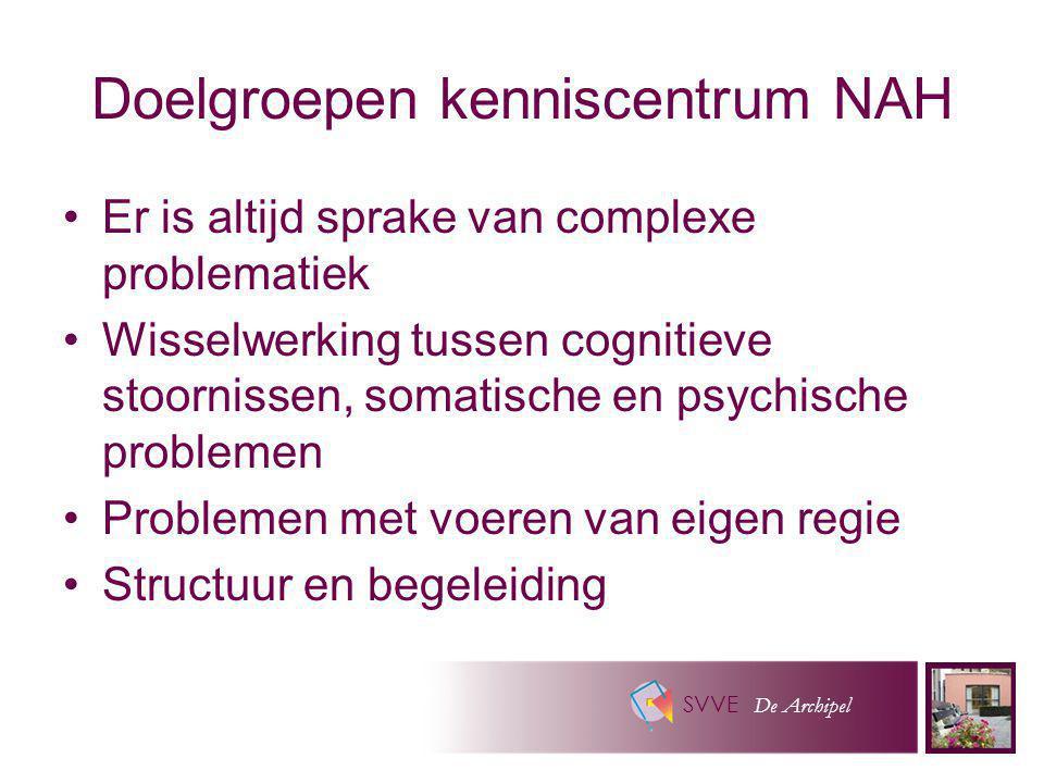 SVVE De Archipel Doelgroepen kenniscentrum NAH Er is altijd sprake van complexe problematiek Wisselwerking tussen cognitieve stoornissen, somatische e
