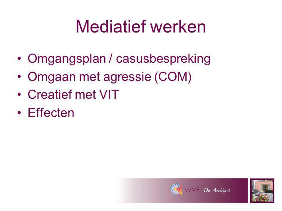 SVVE De Archipel Mediatief werken Omgangsplan / casusbespreking Omgaan met agressie (COM) Creatief met VIT Effecten