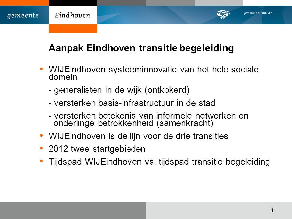 Aanpak Eindhoven transitie begeleiding WIJEindhoven systeeminnovatie van het hele sociale domein - generalisten in de wijk (ontkokerd) - versterken ba