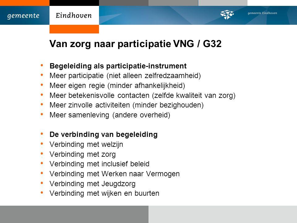 Van zorg naar participatie VNG / G32 Begeleiding als participatie-instrument Meer participatie (niet alleen zelfredzaamheid) Meer eigen regie (minder