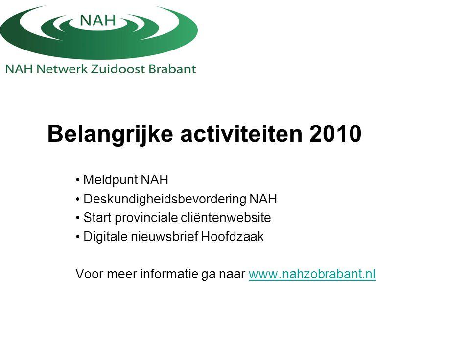 Belangrijke activiteiten 2010 Meldpunt NAH Deskundigheidsbevordering NAH Start provinciale cliëntenwebsite Digitale nieuwsbrief Hoofdzaak Voor meer in