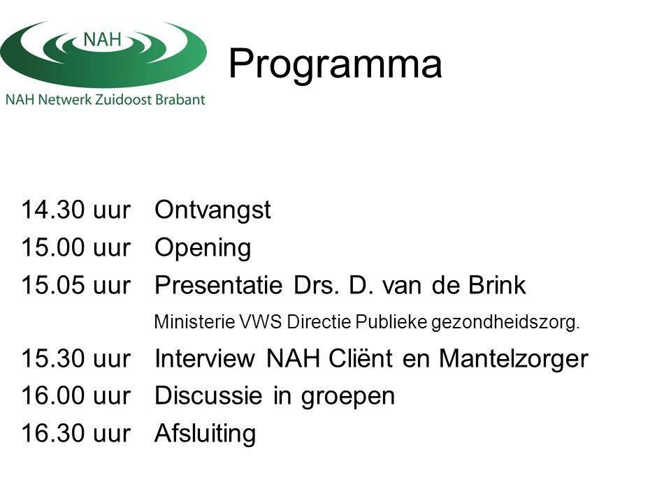 Programma 14.30 uur Ontvangst 15.00 uur Opening 15.05 uur Presentatie Drs. D. van de Brink Ministerie VWS Directie Publieke gezondheidszorg. 15.30 uur