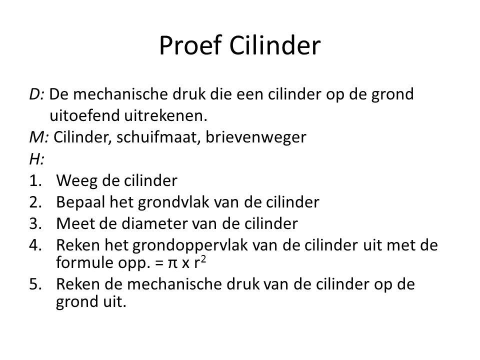 Proef Cilinder D: De mechanische druk die een cilinder op de grond uitoefend uitrekenen.