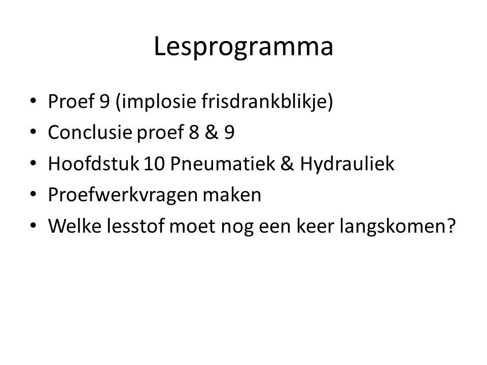 Lesprogramma Proef 9 (implosie frisdrankblikje) Conclusie proef 8 & 9 Hoofdstuk 10 Pneumatiek & Hydrauliek Proefwerkvragen maken Welke lesstof moet no