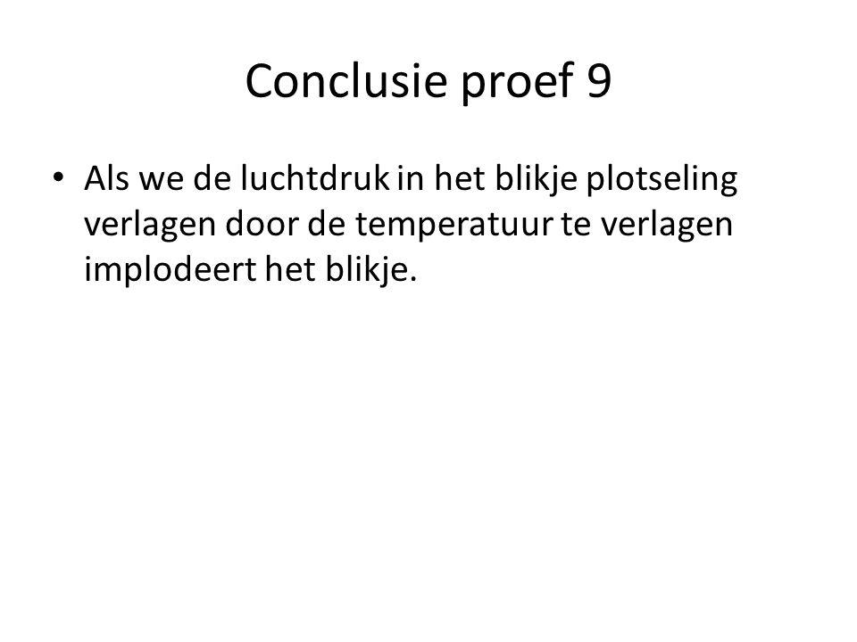 Conclusie proef 9 Als we de luchtdruk in het blikje plotseling verlagen door de temperatuur te verlagen implodeert het blikje.