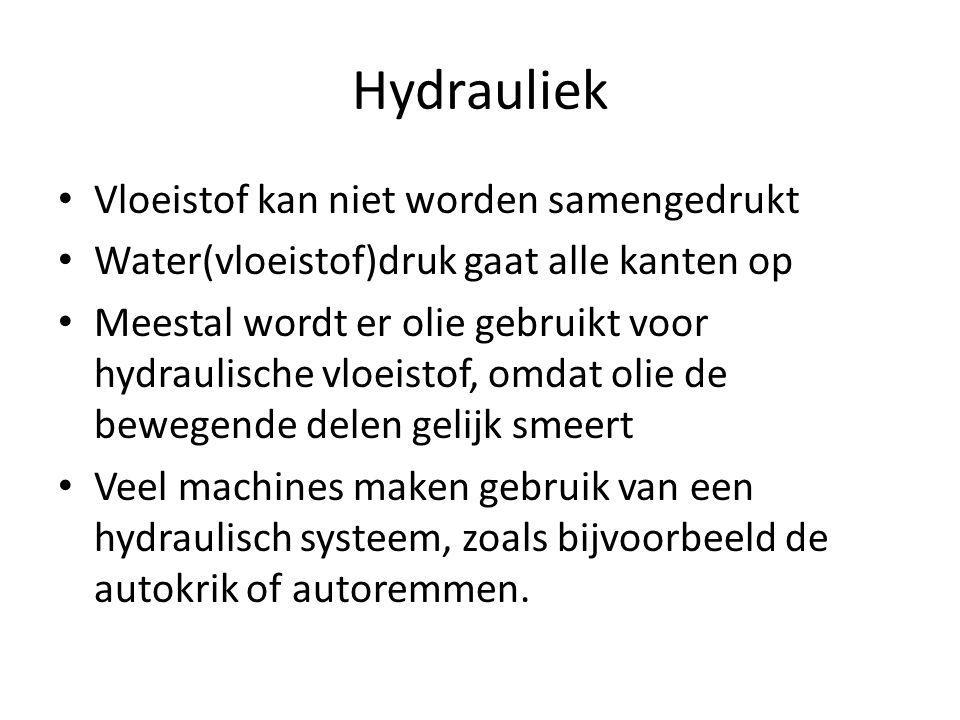 Hydrauliek Vloeistof kan niet worden samengedrukt Water(vloeistof)druk gaat alle kanten op Meestal wordt er olie gebruikt voor hydraulische vloeistof,