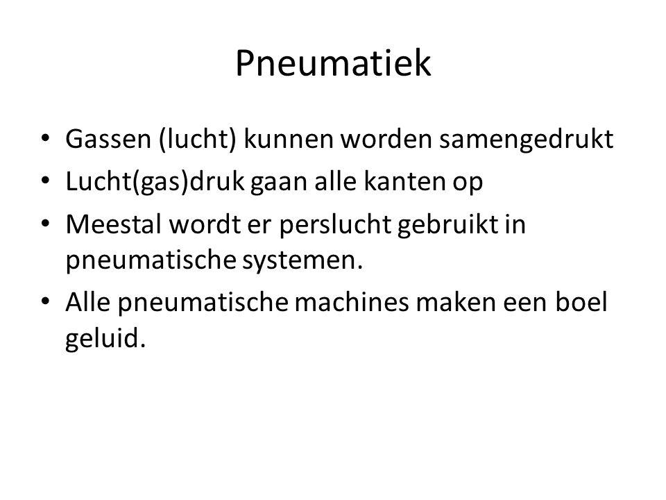 Pneumatiek Gassen (lucht) kunnen worden samengedrukt Lucht(gas)druk gaan alle kanten op Meestal wordt er perslucht gebruikt in pneumatische systemen.