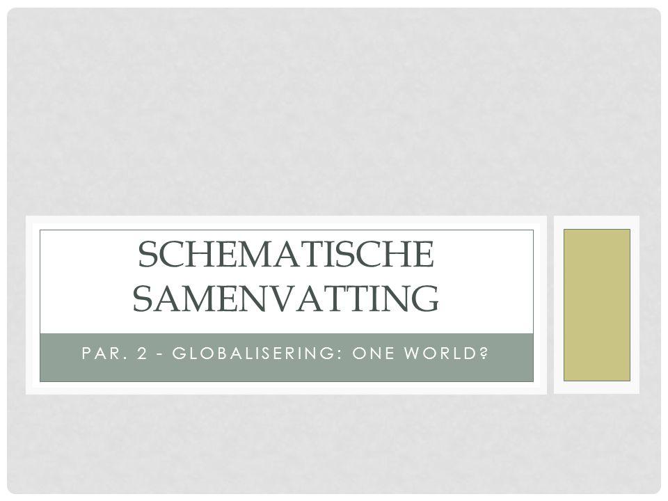PAR. 2 - GLOBALISERING: ONE WORLD? SCHEMATISCHE SAMENVATTING