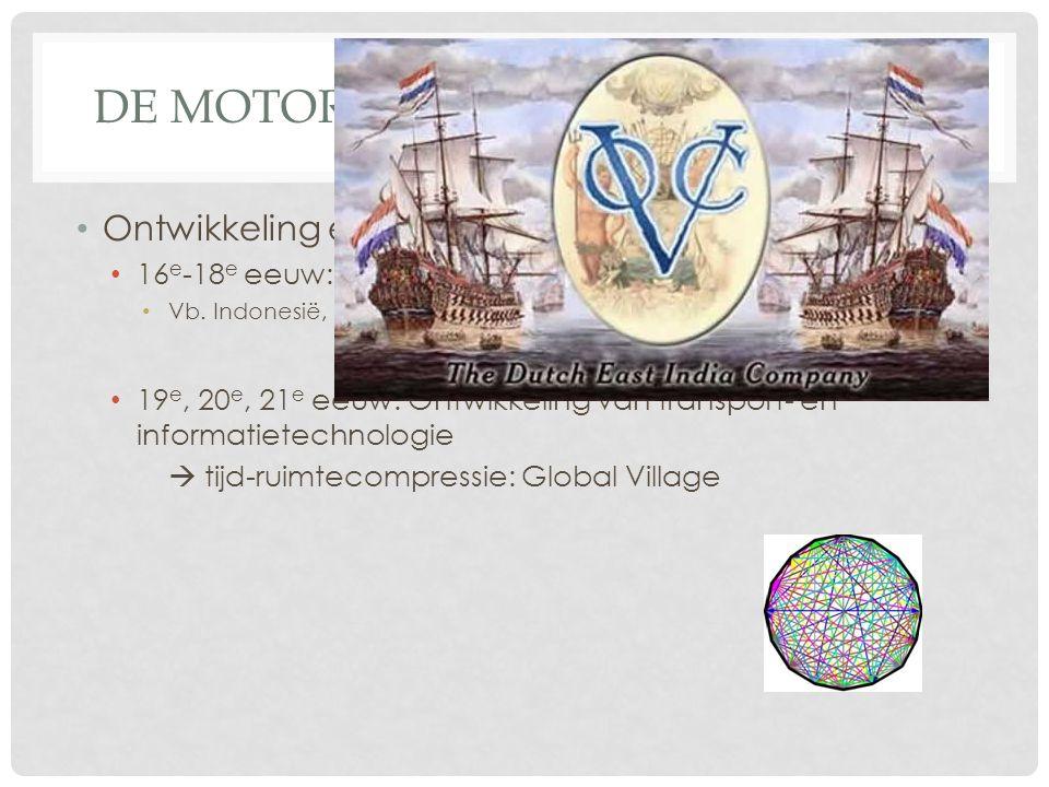DE MOTOR ACHTER GLOBALISERING Ontwikkeling en oorzaken van globalisering 16 e -18 e eeuw: ontdekkingsreizen & (handels) kolonialisme Vb. Indonesië, US