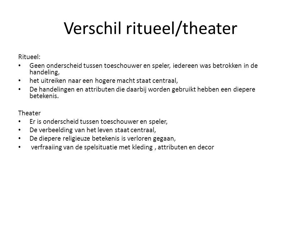 Verschil ritueel/theater Ritueel: Geen onderscheid tussen toeschouwer en speler, iedereen was betrokken in de handeling, het uitreiken naar een hogere