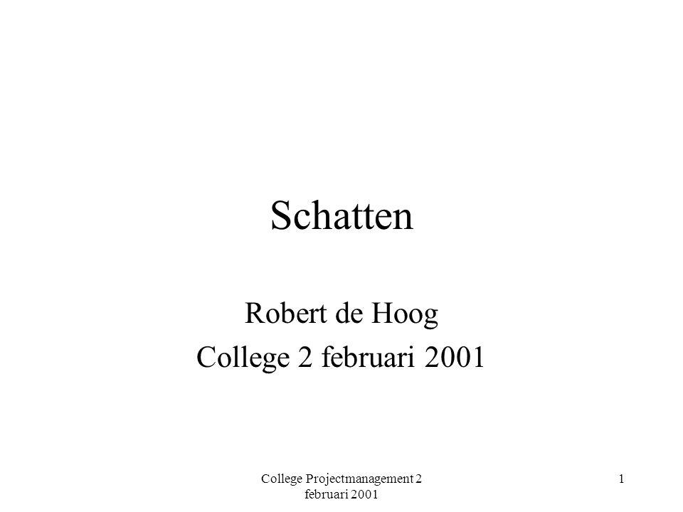College Projectmanagement 2 februari 2001 2 Onderwerpen De methode van DeMarco Functiepunt analyse Complexiteits analyse Black box analyse Kleine projecten anders.