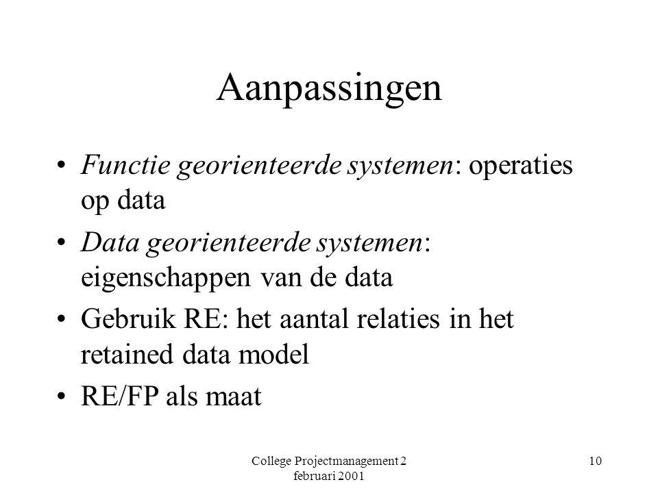 College Projectmanagement 2 februari 2001 10 Aanpassingen Functie georienteerde systemen: operaties op data Data georienteerde systemen: eigenschappen van de data Gebruik RE: het aantal relaties in het retained data model RE/FP als maat