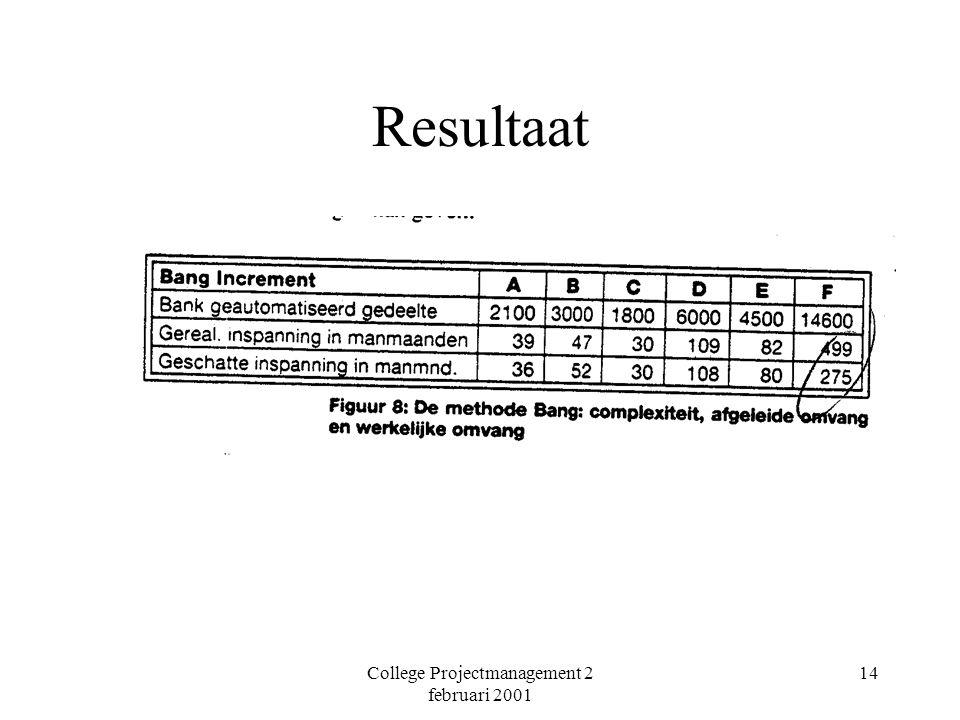 College Projectmanagement 2 februari 2001 14 Resultaat