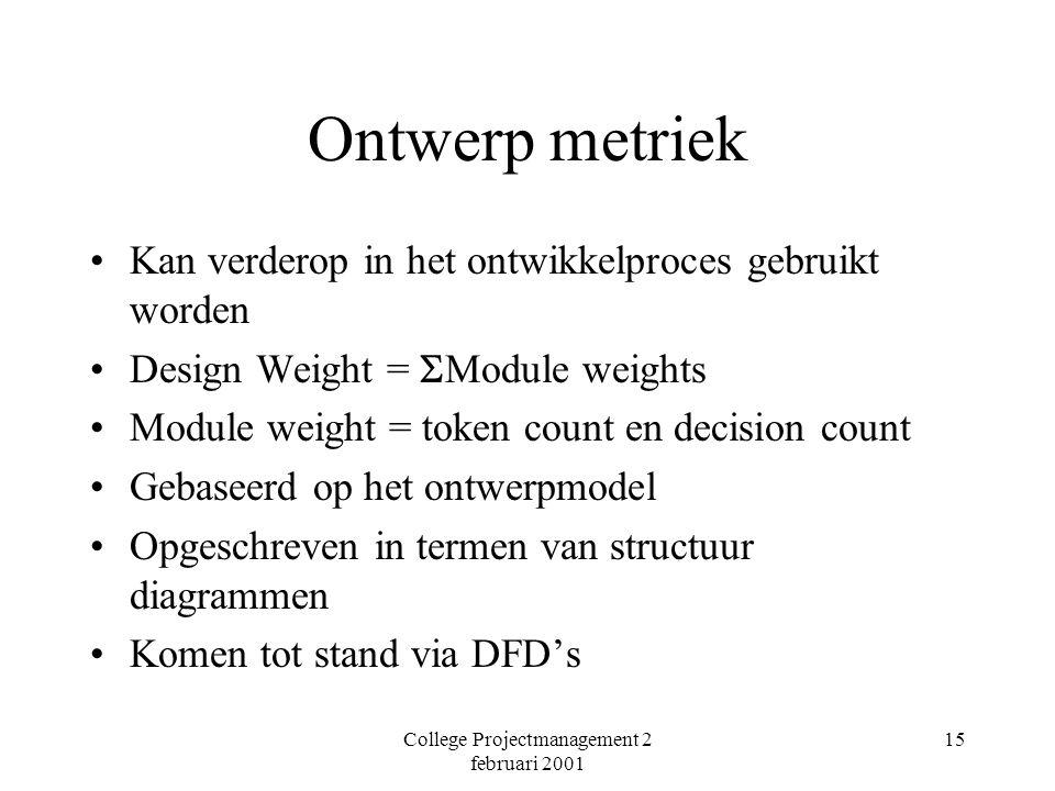 College Projectmanagement 2 februari 2001 15 Ontwerp metriek Kan verderop in het ontwikkelproces gebruikt worden Design Weight =  Module weights Module weight = token count en decision count Gebaseerd op het ontwerpmodel Opgeschreven in termen van structuur diagrammen Komen tot stand via DFD's