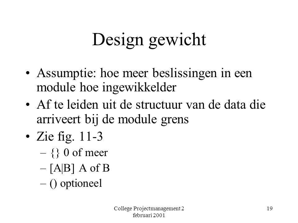 College Projectmanagement 2 februari 2001 19 Design gewicht Assumptie: hoe meer beslissingen in een module hoe ingewikkelder Af te leiden uit de structuur van de data die arriveert bij de module grens Zie fig.