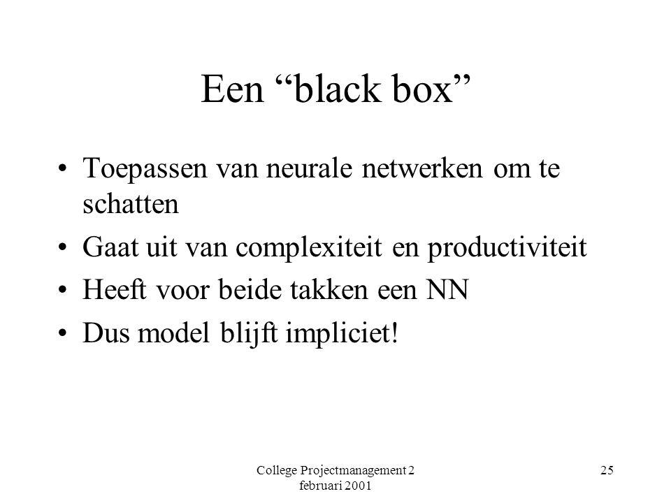 College Projectmanagement 2 februari 2001 25 Een black box Toepassen van neurale netwerken om te schatten Gaat uit van complexiteit en productiviteit Heeft voor beide takken een NN Dus model blijft impliciet!