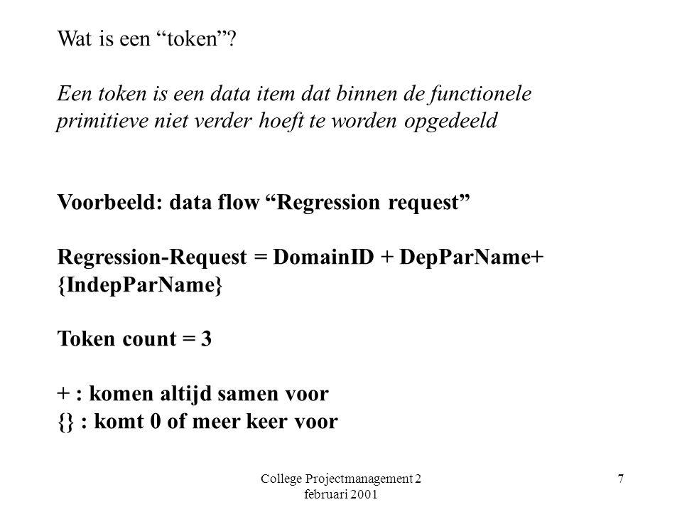 College Projectmanagement 2 februari 2001 18 Koppelingen Token types Data Switch Niet alleen basis voor schatten maar ook voor ontwerp.