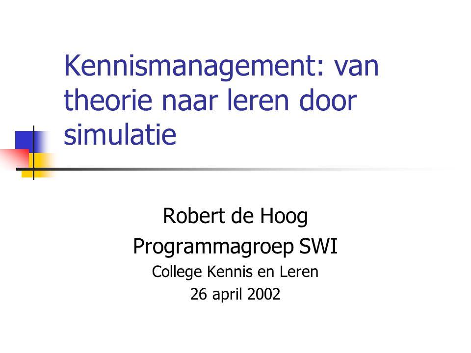 Kennismanagement: van theorie naar leren door simulatie Robert de Hoog Programmagroep SWI College Kennis en Leren 26 april 2002