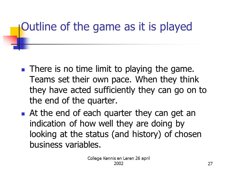College Kennis en Leren 26 april 200227 Outline of the game as it is played There is no time limit to playing the game. Teams set their own pace. When