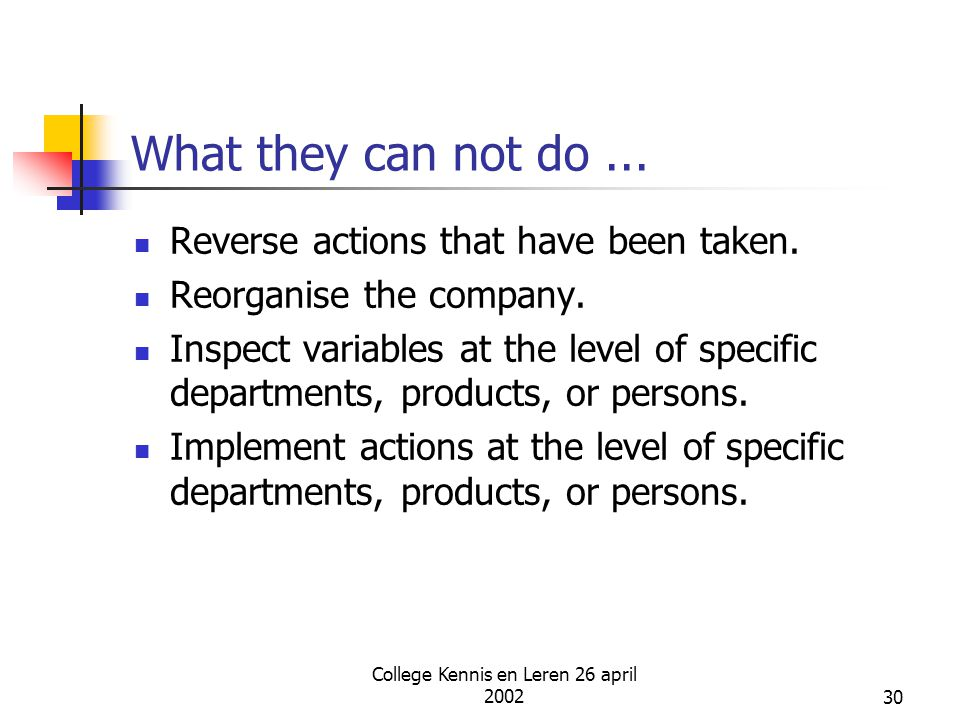 College Kennis en Leren 26 april 200230 What they can not do... Reverse actions that have been taken. Reorganise the company. Inspect variables at the