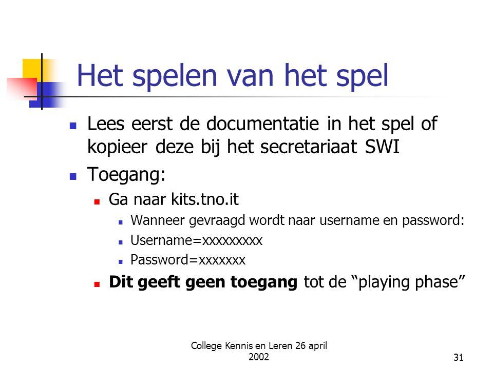 College Kennis en Leren 26 april 200231 Het spelen van het spel Lees eerst de documentatie in het spel of kopieer deze bij het secretariaat SWI Toegan