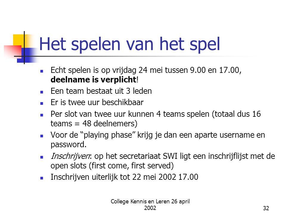 College Kennis en Leren 26 april 200232 Het spelen van het spel Echt spelen is op vrijdag 24 mei tussen 9.00 en 17.00, deelname is verplicht! Een team