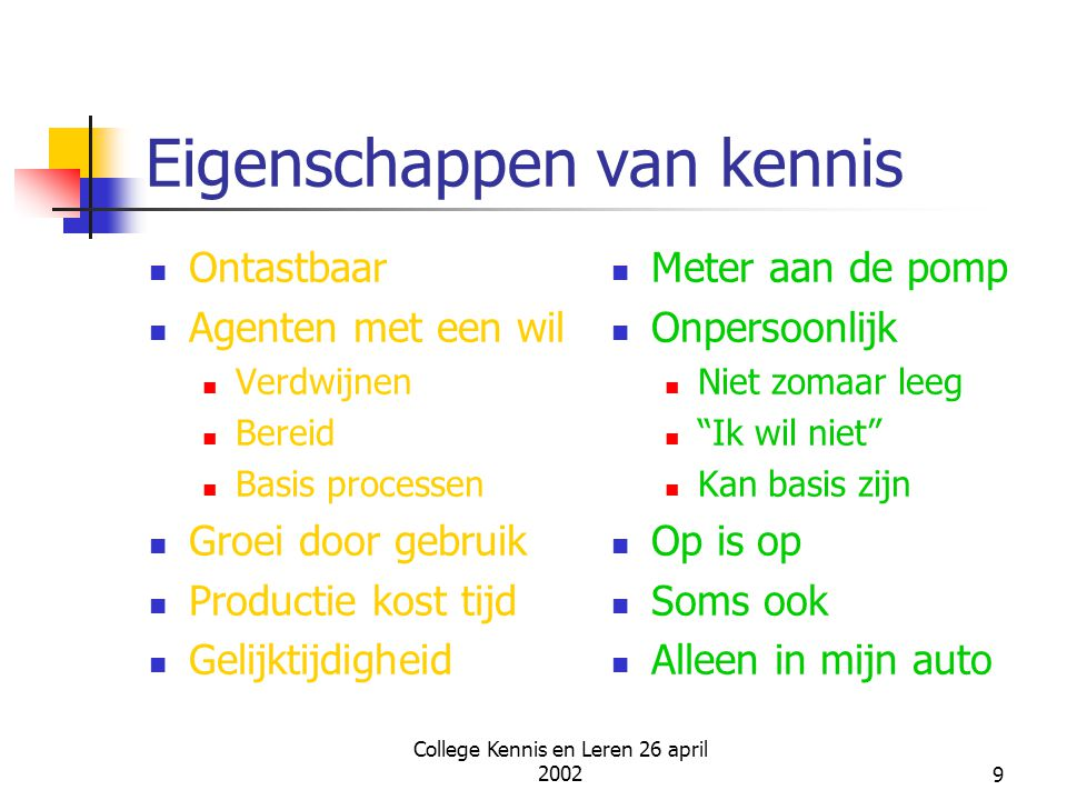 College Kennis en Leren 26 april 200220