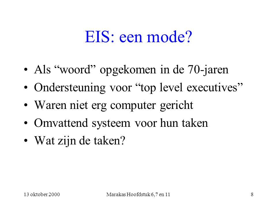 """13 oktober 2000Marakas Hoofdstuk 6,7 en 118 EIS: een mode? Als """"woord"""" opgekomen in de 70-jaren Ondersteuning voor """"top level executives"""" Waren niet e"""