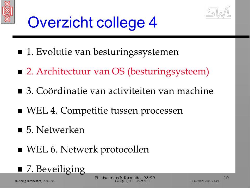 Inleiding Informatica, 2000-2001 College 3, H 3 – sheet nr 1017 October 2000 - 14:11 Basiscursus Informatica 98/9910 Overzicht college 4 n 1.