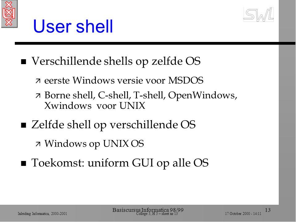 Inleiding Informatica, 2000-2001 College 3, H 3 – sheet nr 1317 October 2000 - 14:11 Basiscursus Informatica 98/9913 User shell n Verschillende shells op zelfde OS ä eerste Windows versie voor MSDOS ä Borne shell, C-shell, T-shell, OpenWindows, Xwindows voor UNIX n Zelfde shell op verschillende OS ä Windows op UNIX OS n Toekomst: uniform GUI op alle OS