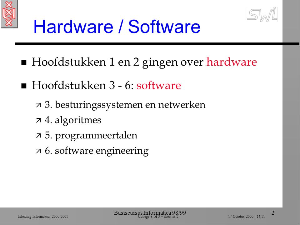 Inleiding Informatica, 2000-2001 College 3, H 3 – sheet nr 217 October 2000 - 14:11 Basiscursus Informatica 98/992 Hardware / Software n Hoofdstukken 1 en 2 gingen over hardware n Hoofdstukken 3 - 6: software ä 3.