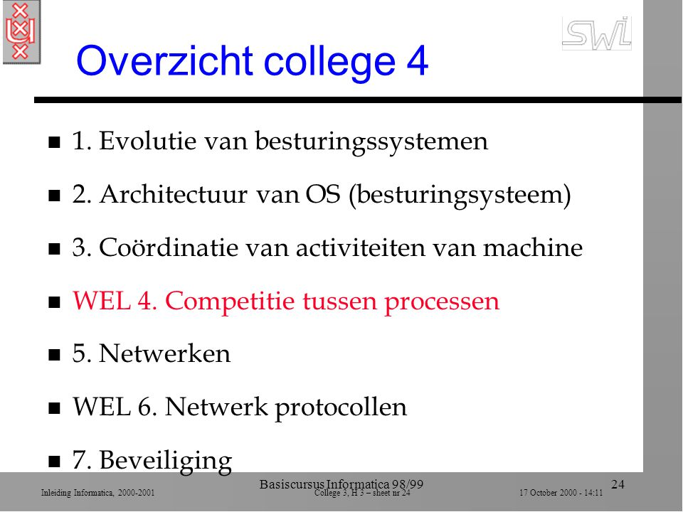 Inleiding Informatica, 2000-2001 College 3, H 3 – sheet nr 2417 October 2000 - 14:11 Basiscursus Informatica 98/9924 Overzicht college 4 n 1.
