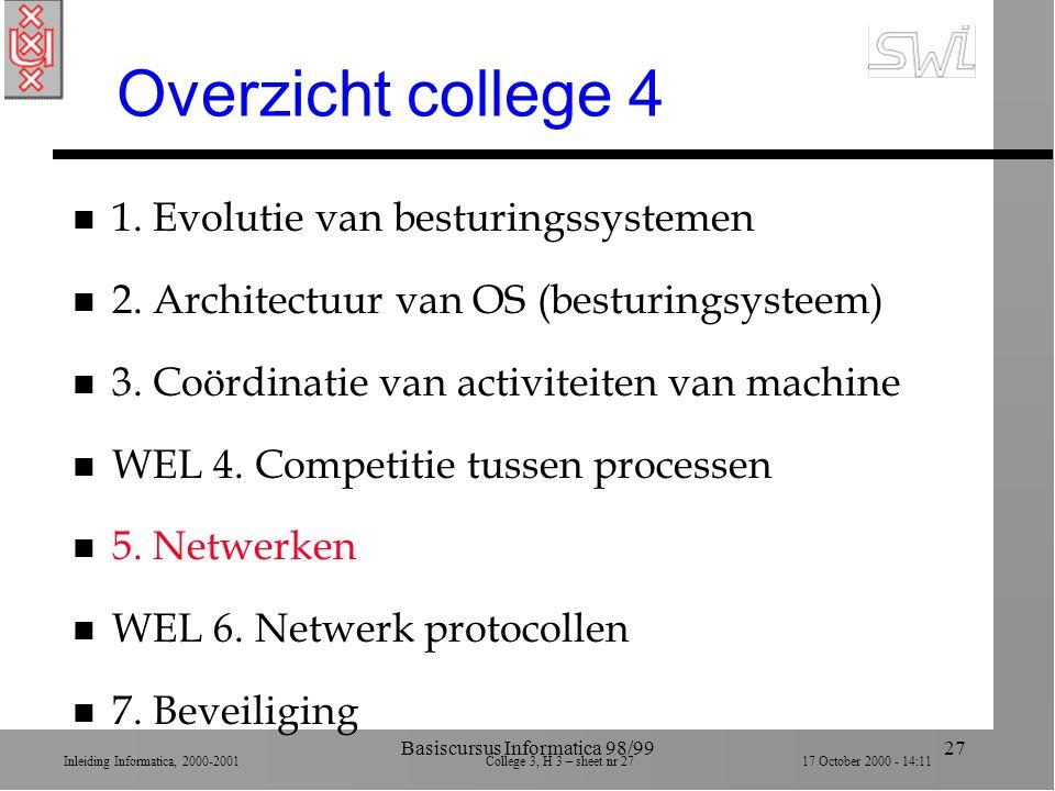 Inleiding Informatica, 2000-2001 College 3, H 3 – sheet nr 2717 October 2000 - 14:11 Basiscursus Informatica 98/9927 Overzicht college 4 n 1.