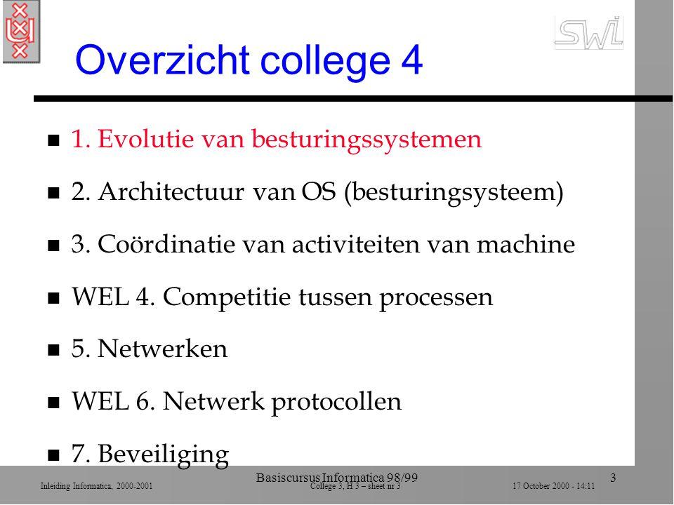 Inleiding Informatica, 2000-2001 College 3, H 3 – sheet nr 317 October 2000 - 14:11 Basiscursus Informatica 98/993 Overzicht college 4 n 1.