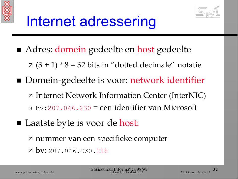 Inleiding Informatica, 2000-2001 College 3, H 3 – sheet nr 3217 October 2000 - 14:11 Basiscursus Informatica 98/9932 Internet adressering n Adres: domein gedeelte en host gedeelte ä (3 + 1) * 8 = 32 bits in dotted decimale notatie n Domein-gedeelte is voor: network identifier ä Internet Network Information Center (InterNIC)  bv:207.046.230 = een identifier van Microsoft n Laatste byte is voor de host: ä nummer van een specifieke computer  bv: 207.046.230.218