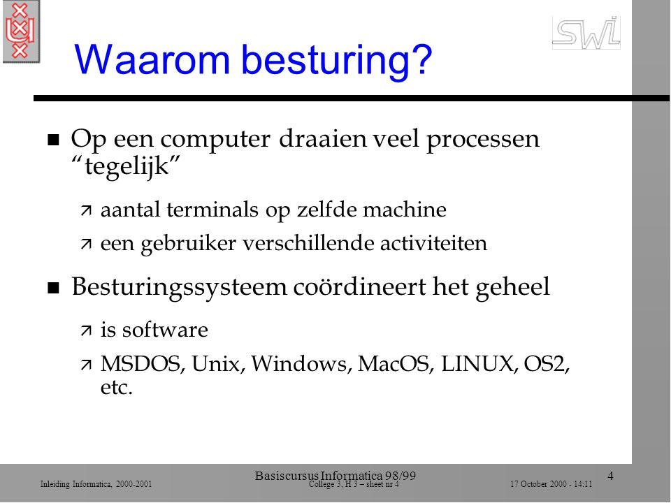 Inleiding Informatica, 2000-2001 College 3, H 3 – sheet nr 417 October 2000 - 14:11 Basiscursus Informatica 98/994 Waarom besturing.