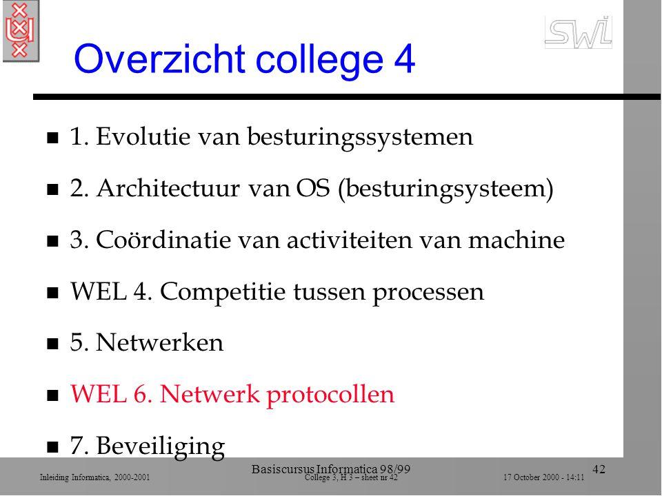 Inleiding Informatica, 2000-2001 College 3, H 3 – sheet nr 4217 October 2000 - 14:11 Basiscursus Informatica 98/9942 Overzicht college 4 n 1.