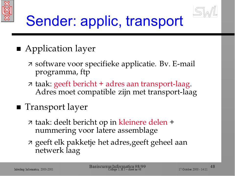 Inleiding Informatica, 2000-2001 College 3, H 3 – sheet nr 4817 October 2000 - 14:11 Basiscursus Informatica 98/9948 Sender: applic, transport n Application layer ä software voor specifieke applicatie.