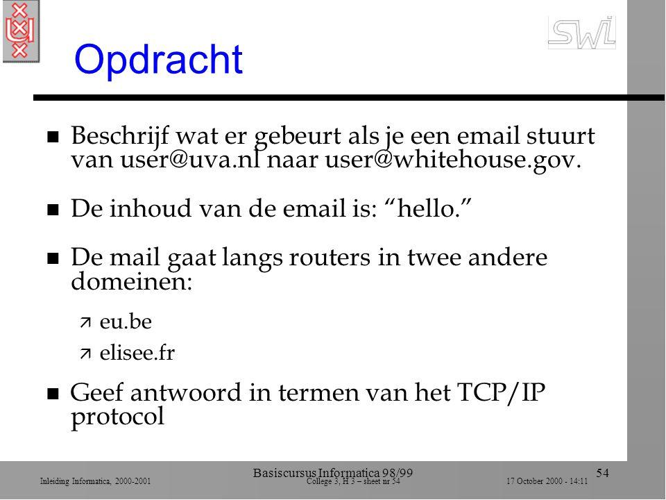 Inleiding Informatica, 2000-2001 College 3, H 3 – sheet nr 5417 October 2000 - 14:11 Basiscursus Informatica 98/9954 Opdracht n Beschrijf wat er gebeurt als je een email stuurt van user@uva.nl naar user@whitehouse.gov.