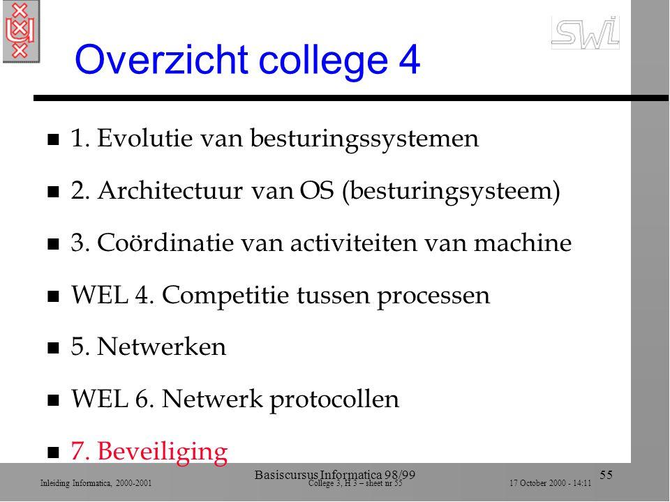 Inleiding Informatica, 2000-2001 College 3, H 3 – sheet nr 5517 October 2000 - 14:11 Basiscursus Informatica 98/9955 Overzicht college 4 n 1.