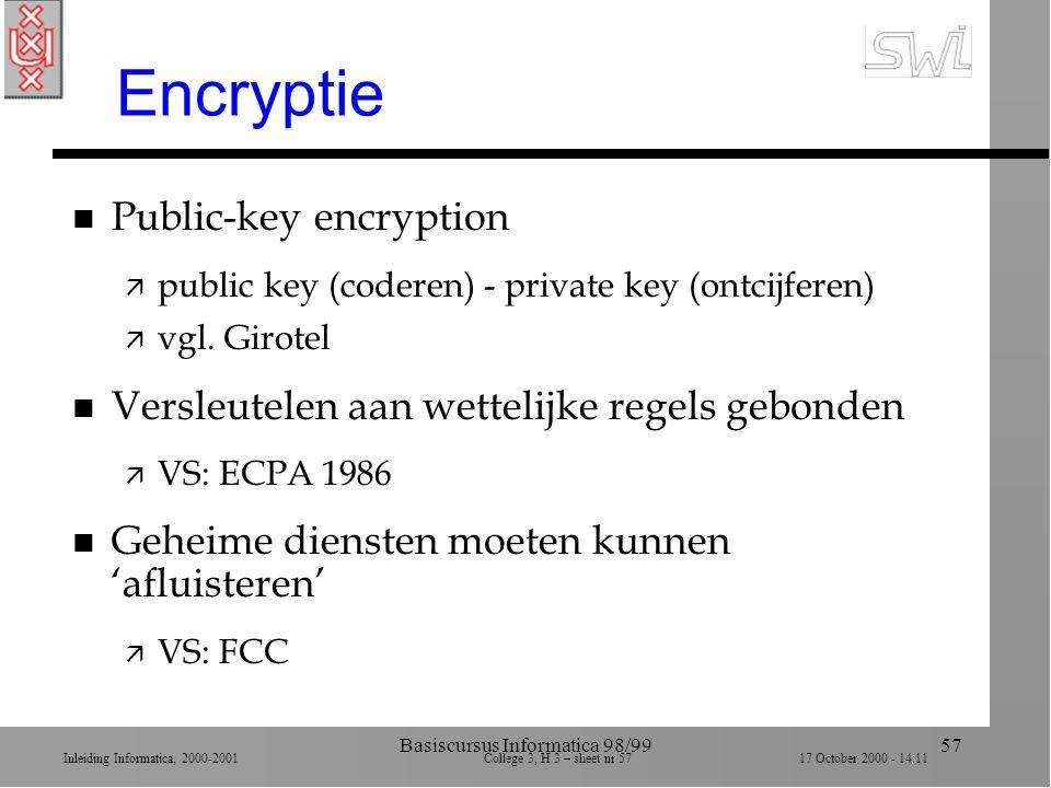 Inleiding Informatica, 2000-2001 College 3, H 3 – sheet nr 5717 October 2000 - 14:11 Basiscursus Informatica 98/9957 Encryptie n Public-key encryption ä public key (coderen) - private key (ontcijferen) ä vgl.