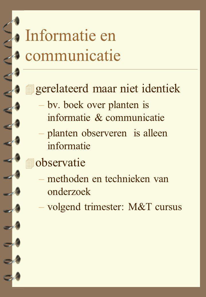 Informatie en communicatie 4 gerelateerd maar niet identiek –bv.